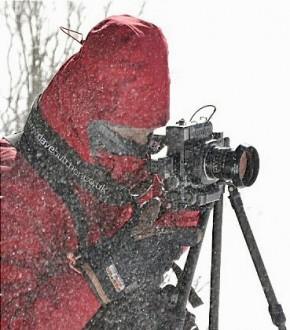 Dave Butcher with Mamiya 7 on Gitzo tripod in a blizzard in Colorado