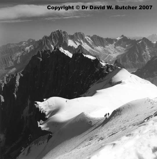 Descent to Vallee Blanche, summer, Chamonix
