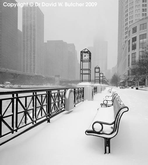 Chicago River Promenade in Winter