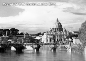 St Peters Basilica and the River Tiber from the Umberto Bridge, Rome