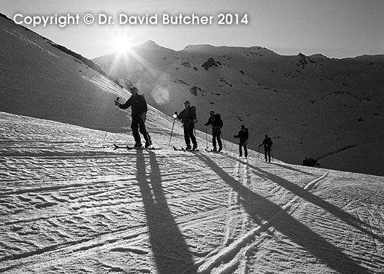 Skiers Above Rifugio Benevolo