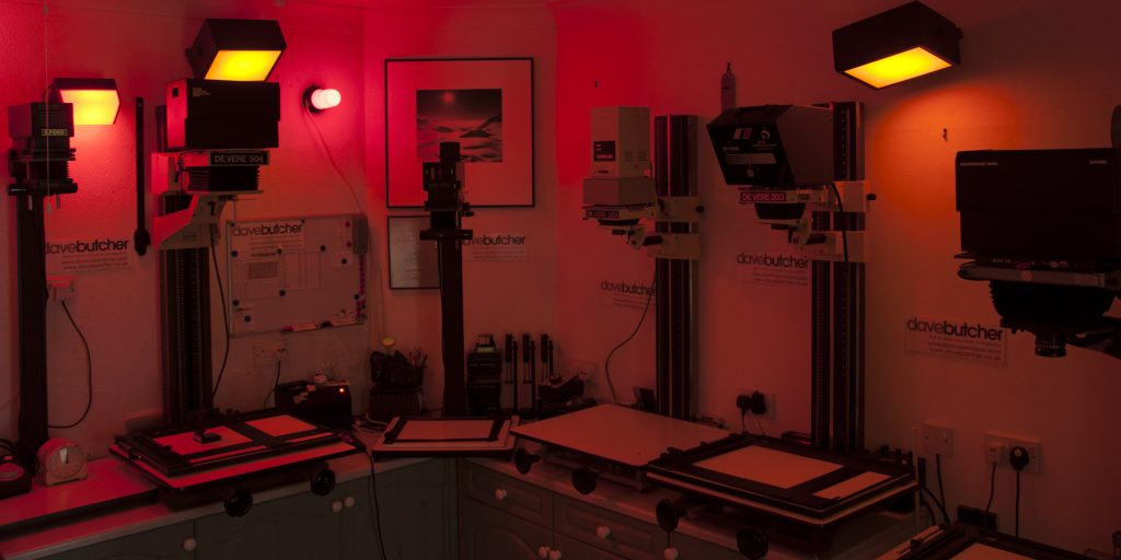 Dave Butcher Darkroom Enlargers in Safelight