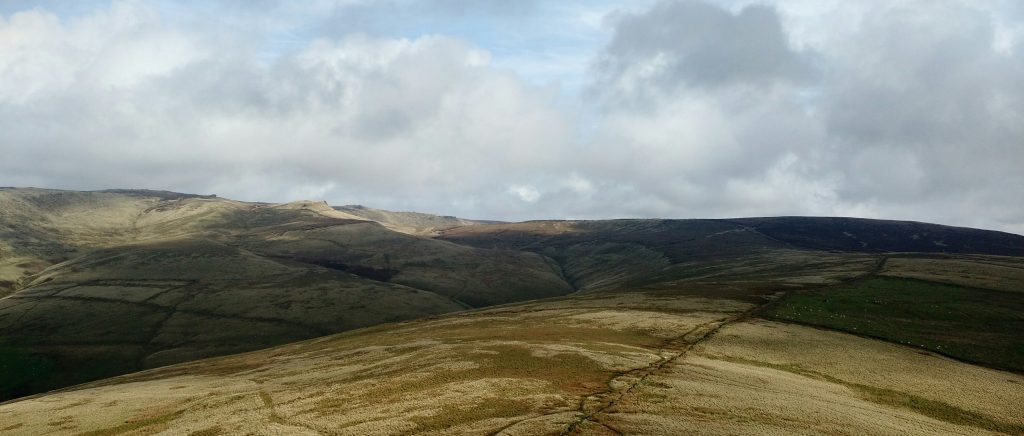 Kinderscout from South Head, sunny